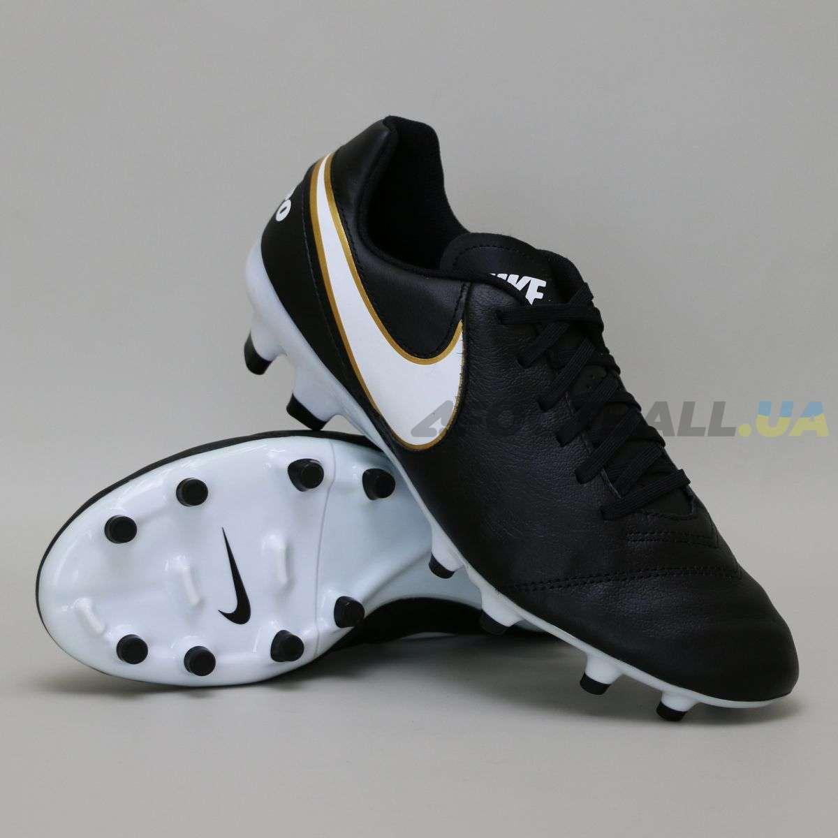 78ae2802 Бутсы Nike Tiempo GENIO II Leather FG - Black/Gold купить у ...