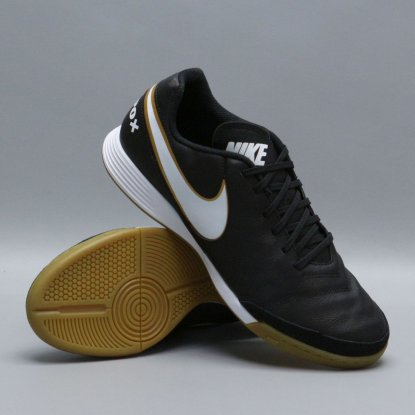 Футзалки Nike Tiempo GENIO II Leather IC - Black/Gold