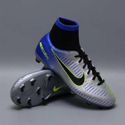Детские бутсы с носком nike mercurial victory NEYMAR-R9 921486-407 Chrome|Blue