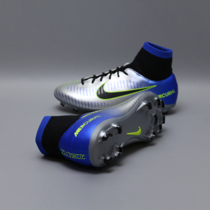 Детские бутсы с носком nike mercurial victory NEYMAR-R9 921486-407 Chrome|Blue  2
