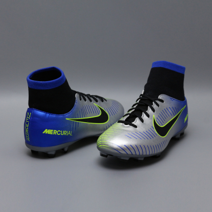 Детские бутсы с носком nike mercurial victory NEYMAR-R9 921486-407 Chrome|Blue  3
