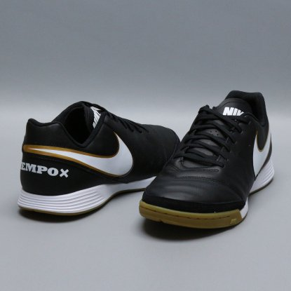 Футзалки Nike Tiempo GENIO II Leather IC - Black/Gold  2