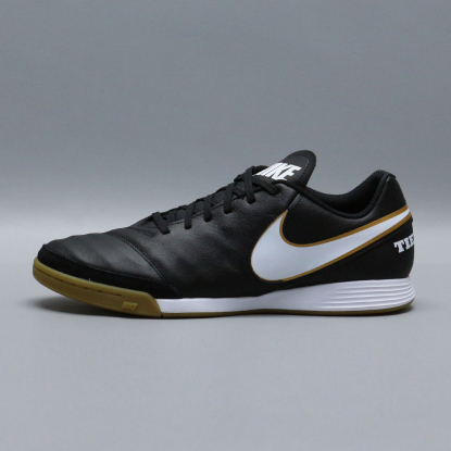 Футзалки Nike Tiempo GENIO II Leather IC - Black/Gold  3
