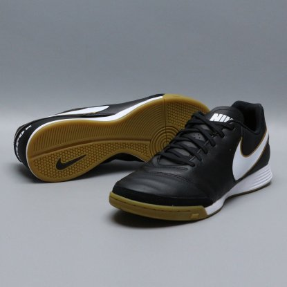 Футзалки Nike Tiempo GENIO II Leather IC - Black/Gold  7