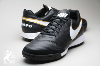Сороконожки Nike Tiempo GENIO II Leather TF - Black/Gold  5